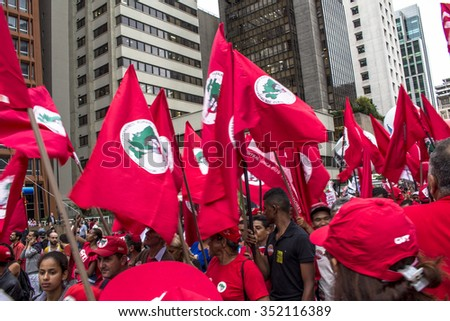 Sao Paulo, Brazil, December 16, 2015. Mass demonstrations in favor of democracy and the government president Dilma Rousseff, in Paulista Avenue in Sao Paulo