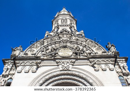 Sao Paulo, Brazil, February 14, 2016. Facade of Our Lady of Saude Church in Vila Mariana neighborhood, Sao Paulo