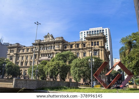 Sao Paulo, Brazil, February 19, 2016.. facade of Palace of Justice in Se Square, downtown Sao Paulo