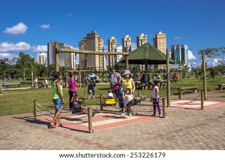 Sao Paulo, Brazil. January 20, 2012.?? People in Villa Lobos Park. The park is a good place for walkers, cycling and an oasis for the skaters. - stock photo