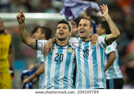SAO PAULO, BRAZIL - July 9, 2014: Argentina defeats the Netherlands on penalties in the World Cup 2014 Semi-finals match at Corinthians Arena and advance to the finals. - stock photo