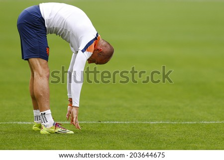 SAO PAULO, BRAZIL - July 8, 2014: Arjen Robben during Netherlands training session at Arena Corinthians in preparation for the semi-finals game against Argentina. NO USE IN BRAZIL.