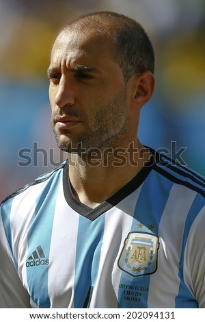 SAO PAULO, BRAZIL - July 1, 2014: Pablo Zabaleta during Argentina National Anthem at the 2014 World Cup Round of 16 game between Argentina and Switzerland at Arena Corinthians. No Use in Brazil.