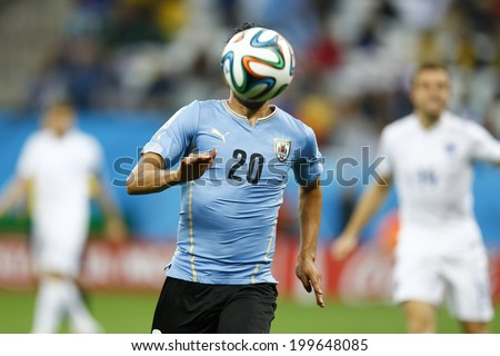 SAO PAULO, BRAZIL - June 19, 2014: Alvaro Gonzalez of Uruguay during the 2014 World Cup Group D game between Uruguay  and England at Arena Corinthians. No Use in Brazil.