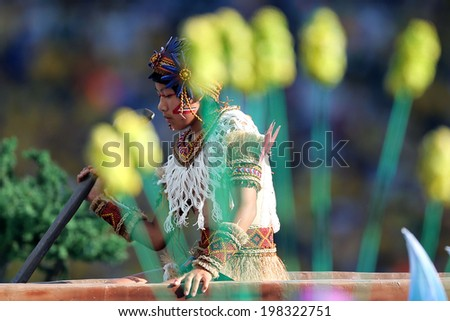 SAO PAULO, BRAZIL - June 12, 2014: Brazilian performers during the opening ceremony of the FIFA 2014 World Cup at Corinthians Arena. No Use in Brazil.