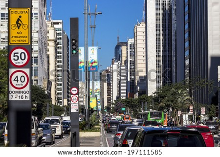 SAO PAULO, BRAZIL. JUNE 03, 2014: Paulista Avenue is one of the most important thoroughfares of the city of Sao Paulo, one of the main financial centers of the city