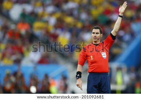 SAO PAULO, BRAZIL - June 26, 2014: Referee Benjamin Williams during the 2014 World Cup Group H game between Belgium and Korea at Arena Corinthians. No Use in Brazil.