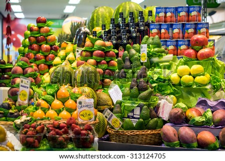 Sao Paulo, Brazil - March 14: Colorful fresh fruit stand at the traditional Municipal Market (Mercado Municipal), or Mercadao, in Sao Paulo, Brazil.