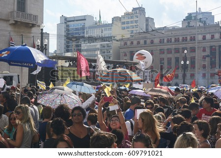 Sao Paulo, Brazil - March 21, 2017: Protest of teachers and other classes of workers, against social security reform, against corruption, for better working conditions in schools.