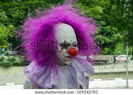 Sao Paulo, Brazil November 2 2016: An unidentified man in scary clown costume in the annual event Zombie Walk in Sao Paulo Brazil.