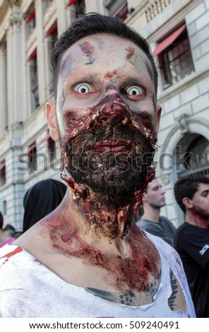 Sao Paulo, Brazil November 2 2016: An unidentified man in scary costume in the annual event Zombie Walk in Sao Paulo Brazil.