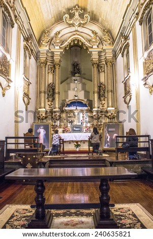 SAO PAULO, BRAZIL, NOVEMBER 27, 2012. inside on Church of Our Lady of Good Death in Brazil