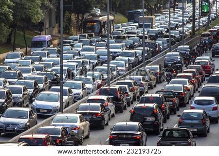 SAO PAULO, BRAZIL, NOVEMBER 19, 2014: Traffic on the famous 23 de Maio Avenue in Sao Paulo, Brazil. - stock photo