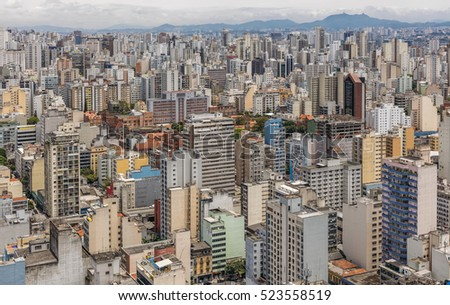 SAO PAULO, BRAZIL - NOVEMBER 23: urban general view of Sao Paulo, one of the biggest cities in Brazil, as it can be seen from Edificio Italia on November 23, 2016.