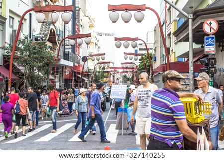 Sao Paulo, Brazil.?? October 11, 2015: Oriental street market in Liberdade neighborhood, Japanese and other Asian immigrants reside, Sao Paulo, Brazil