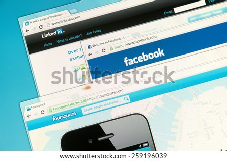 Sao Paulo, Brazil - Sep 2, 2012: Social networks web sites on a computer screen, including Facebook, Foursquare  and Linkedin. Sep 2, 2012 in Sao Paulo, Brazil. - stock photo