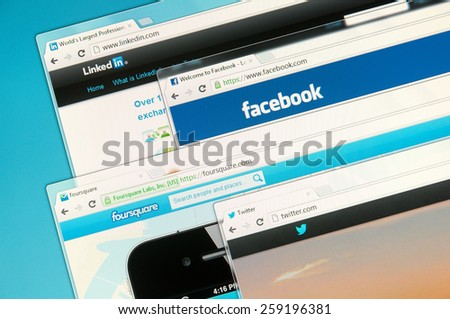 Sao Paulo, Brazil - Sep 2, 2012: Social networks web sites on a computer screen, including Facebook, Foursquare, Twitter  and Linkedin. Sep 2, 2012 in Sao Paulo, Brazil. - stock photo