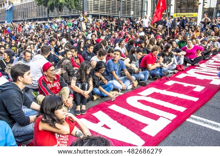 "Sao Paulo, Brazil, September 04, 2016. Protesters participating in the protest ""Fora Temerâ?�, Out of Temer in portuguese, against to President Michel Temer, in Paulista Avenue, Sao Paulo"