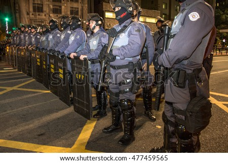 Sao Paulo, Brazil, September 01, 2016: Riot of Military Police during a protest against Michel Temer President, in Paulista Avenue, downtown Sao Paulo.
