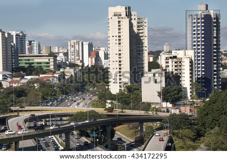SAO PAULO, BRAZIL, SEPTEMBER 19, 2015: Viaduct over a traffic on the famous 23 de Maio Avenue in Sao Paulo, Brazil. This avenue run past Ibirapuera Park.