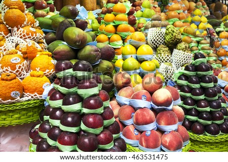 SAO PAULO, BRAZIL - SET 24, 2015: Fruits at a stall in Municipal Market in Sao Paulo, Brazil. Most famous market in the city daily visited by thousands of tourists.