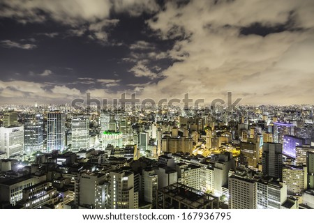 Sao Paulo city at night, Brazil - stock photo