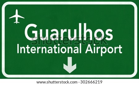 Sao Paulo Guarulhos Brazil International Airport Highway Sign 2D Illustration - stock photo