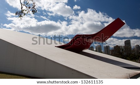 SAO PAULO - JUL 24: The Theater  in Ibirapuera Park on July 24, 2010. The theater is one of the landmarks of Ibirapuera Park, which is a major urban park in Sao Paulo. - stock photo