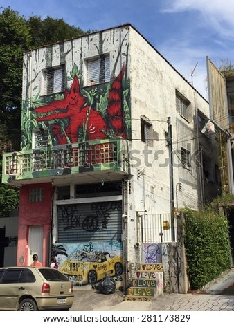 Sao Paulo - May 23: Graffiti on the streets of the Vila Madalena neighborhood on May 23, 2015 in Sao Paulo, Brazil - stock photo