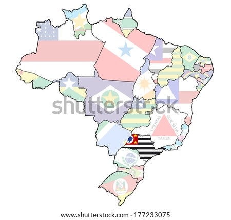 sao paulo on administration map of brazil with flags - stock photo