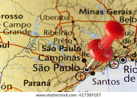 Sao paulo pinned map brazil copy stock photo royalty free sao paulo pinned map brazil copy space available gumiabroncs Images