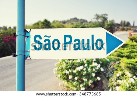 Sao Paulo Road Sign with beautiful nature and road on background - stock photo