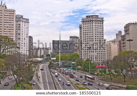 Sao Paulo - September 21: Traffic on Avenida, Sao Paulo city Brazil. - stock photo