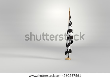 Sao Paulo sidewalk isolated flag on a brown and golden wooden mast 3d illustration - stock photo
