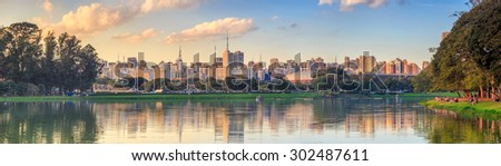 Sao Paulo skyline from Parque Ibirapuera park in Brazil - stock photo