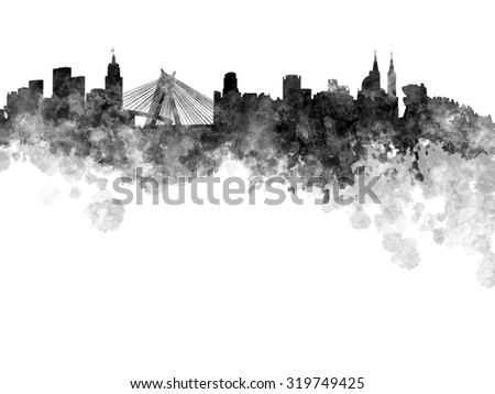 Sao Paulo skyline in black watercolor on white background - stock photo