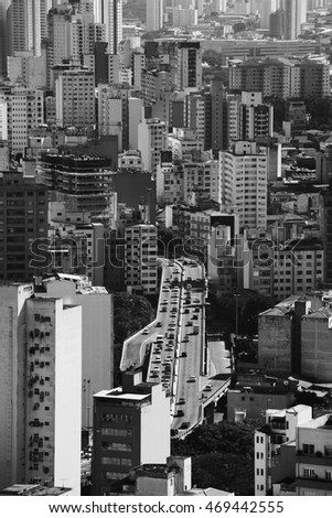 SAO PAULO, SP/BRAZIL, JULY 27, 2016: Lots of buildings from downtown area of Sao Paulo, Brazil. Skyline of the biggest city of South America. Black and white scene.