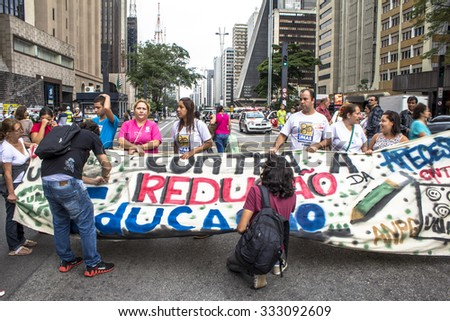 Sao Paulo, SP, Brazil, October 29, 2015. Teachers and students hold protest against school reorganization, on Paulista Avenue, central Sao Paulo,