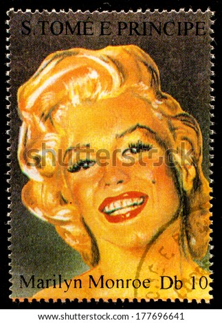 SAO TOME AND PRINCIPE - CIRCA 1995. A postage stamp printed by S.Tome and Principe shows image portrait of famous American actress, model and singer Marilyn Monroe (1926-1962), circa 1995  - stock photo