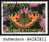 SAO TOME AND PRINCIPE - CIRCA 1987: A Stamp printed in Sao Tome and Principe shows image of a (Aglais urticae) butterfly , circa 1987 - stock photo