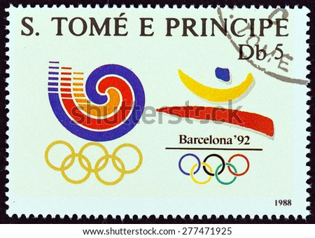SAO TOME AND PRINCIPE - CIRCA 1988: A stamp printed in Sao Tome and Principe shows Olympic Games, Seoul and Barcelona emblems, circa 1988.  - stock photo