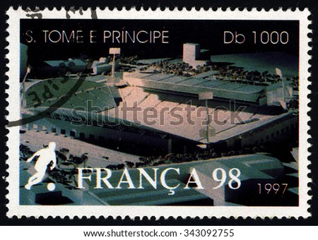 SAO TOME AND PRINCIPE - CIRCA 1997: A stamp printed in Sao Tome dedicate to World Cup Football â?? France 1998 shows Stade Velodrome Stadium in City of Marseille, France, circa 1997 - stock photo