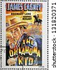 SAO TOME AND PRINCIPE - CIRCA 1995: A stamp printed in Sao Tome shows movie poster The oklahoma kid, circa 1995 - stock photo