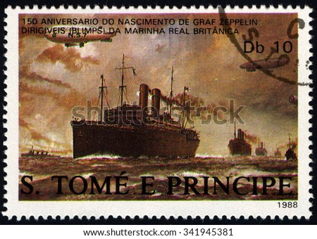 SAO TOME AND PRINCIPE - CIRCA 1988: A stamp printed in Sao Tome to commemorate 150th Anniversary of the Birth of Ferdinand von Zeppelin shows Dirigibles flying over British Merchant ships, circa 1988