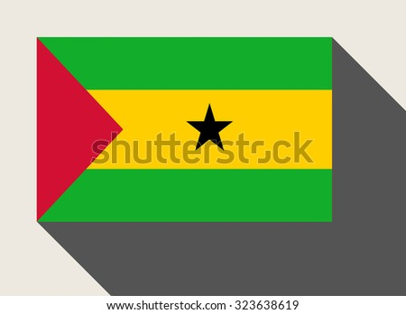 Sao Tome and Principe flag in flat web design style. - stock photo