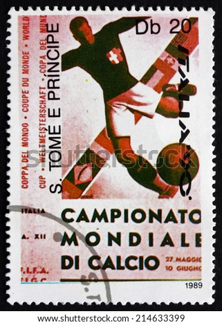 SAO TOME AND PRINIPE - CIRCA 1989: a stamp printed in Sao Tome and Principe shows Soccer Player Kicking Ball, 1934, 1990 World Cup, Italy, circa 1989 - stock photo