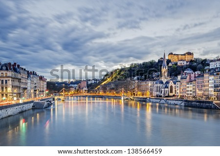 Saone river in Lyon city at evening,  France - stock photo