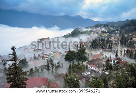 SAPA, VIETNAM, February 15, 2016 the town of Sa Pa. Lao Cai highland province, Vietnam