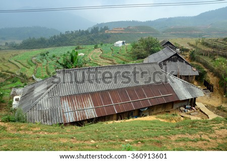 SAPA, VIETNAM. October 24, 2015 - A rural house in the mountains.  - stock photo