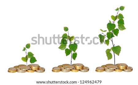 Saplings growing from coins - stock photo
